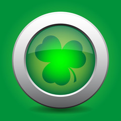 metal button with the green shamrock