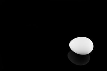Weißes Ei auf schwarzem Hintergrund
