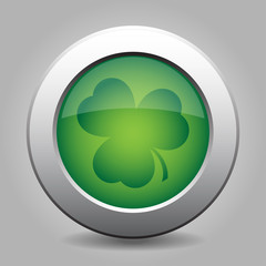 metal button with the dark green shamrock