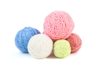 Balls of yarn on a white background