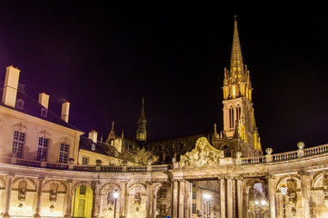 Fotobehang Monument View of Saint Epvre basilica in Nancy at night - France