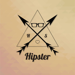 hipster glasses within a triangle over texture degrade backgroun