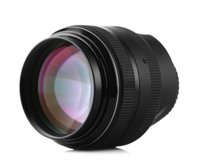 Lens of camera isolated on white