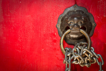 chinese door Knob and chain on