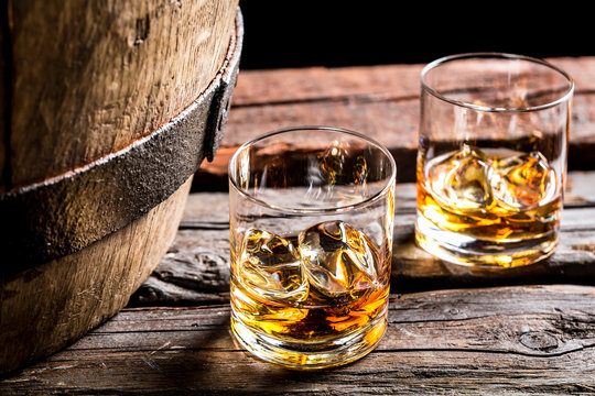 Glass of whiskey in the old cellar