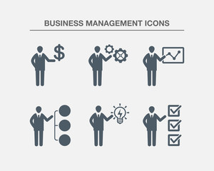 Business Management Icons 2 (Black white Version)