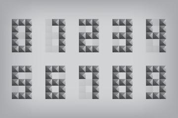 set 0-9 number zero-nine alphabet geometric icon and sign triang