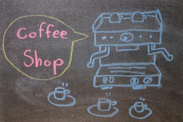Automatic coffee machines on chalkboard background