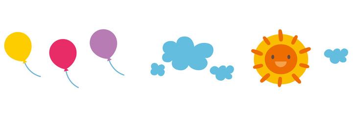 子供向け素材 おひさま 風船