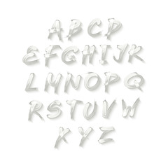 Vector alphabet. Hand drawn letters. written with a brush.