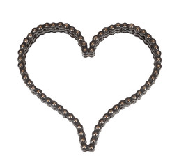 Roller chain with for motorcycle in the form of heart