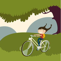 cute girl ring bicycle. vector illustration.