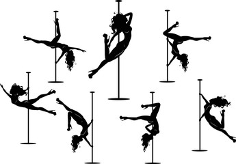 Seven pole dancers silhouettes Wall mural