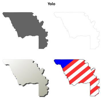 Yolo County (California) outline map set