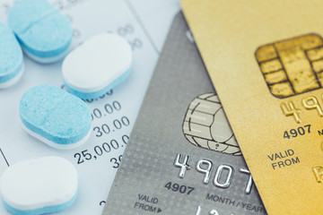 credit card and Medicine pills