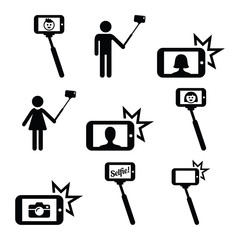 Selfie stick with mobile or cell phone icons set