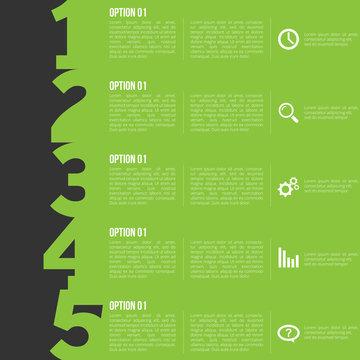 1-2-3-4-5 option infographics-paper progress template