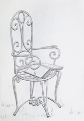 Vintage Garden Chair Pencil Drawing