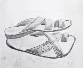 Slippers Pencil Drawing