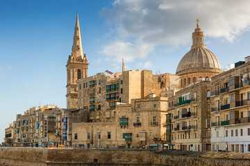 View to Valetta city buildings under sunlight