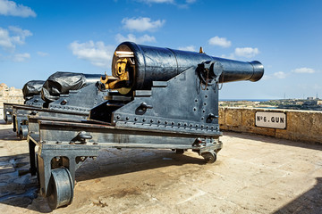 Closeup view to gun of Valetta saluting battery