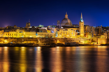 View to Valetta city historical buildings at night