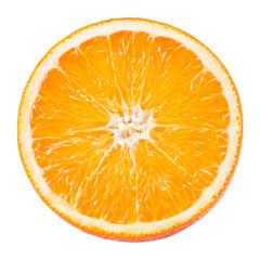 Slice of orange fruit isolated on white
