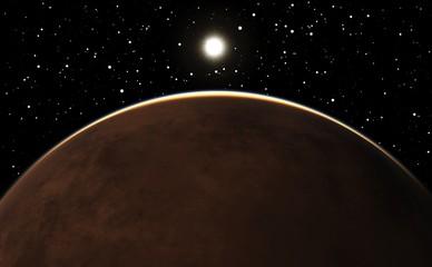 Sunrise over the planet Mars