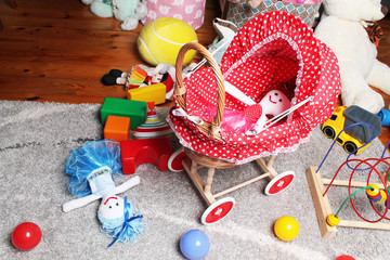 doll's trolley in child's room