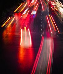 Light trails on City street at Night