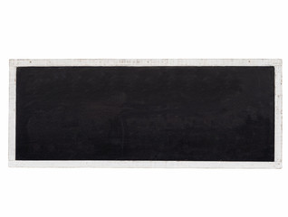 Blank Blackboard background Mock up with white wooden frame isol
