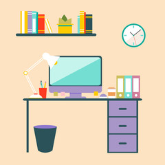 Conceptual flat design workspace interior.
