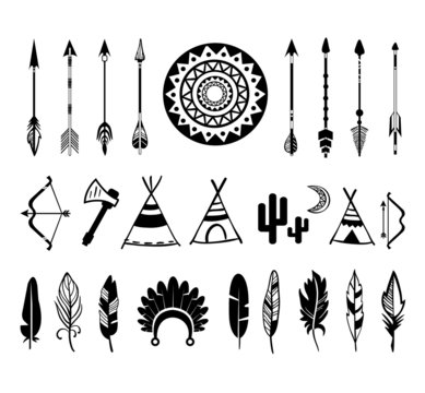 vector silhouettes of the bow and arrow