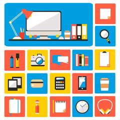 Big set of flat modern design vector illustration of office.