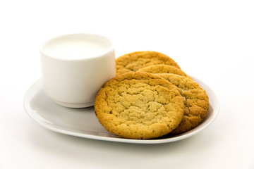 plain sugar cookies and cup of milk
