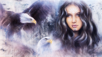 beautiful airbrush painting of an enchanting woman face with t