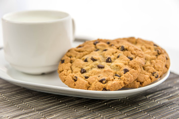 chocolate chip cookies and cup of milk