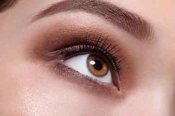 Glamour brown eye make up close