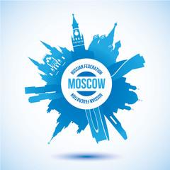 Vector silhouette of Moscow. Circular logo.
