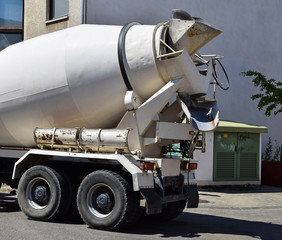 Cement mixer truck at the construction site