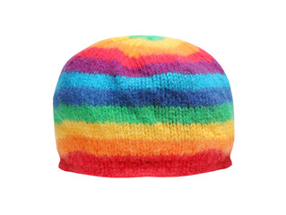 Rainbow rasta cap isolated on a white background.