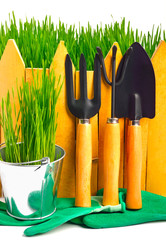 rake, shovel, rubber gloves in the pot against the wooden fence