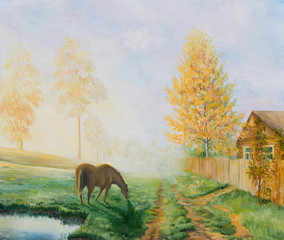 Rural landscape with a horse. Oil painting on canvas.