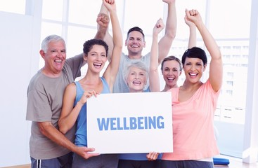 Wellbeing against portrait of happy fit people