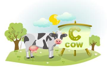 Funny Cartoon Alphabet C With Cow