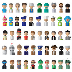 Flat People Icons, Different Occupation: Doctor, Police, Knight, Indian, Athlete, Professor, Astronaut, Waiter, Explorer, Painter Isolated On White Background - Vector Illustration, Graphic Design