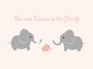 Baby announcement with elephants. Vector design.