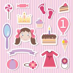 Girl Toys Stickers Set