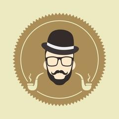 gentleman hipster smoker cartoon