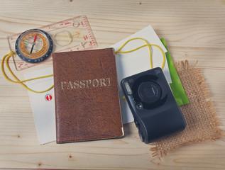 Passport, compass, camera. Travel set tourist